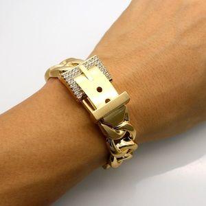 Belt Buckle Clasp Rhinestone Embellished Bracelet